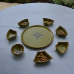 Service à apéritif Tatoué vert pistache