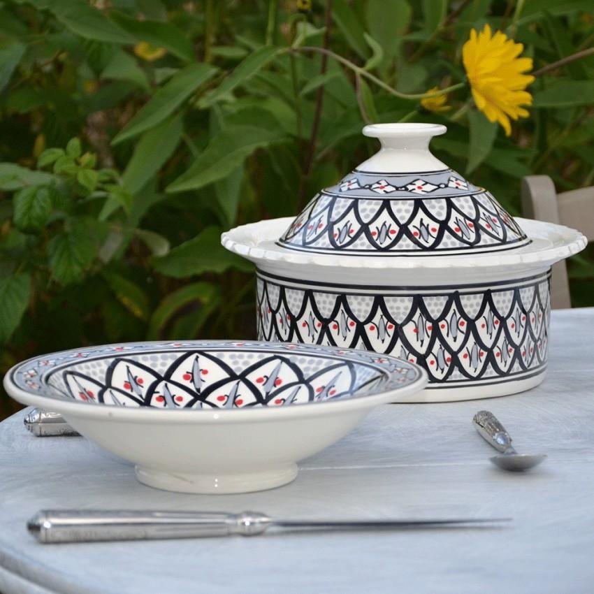 Service à couscous assiettes Tebsis Bakir gris - 6 pers
