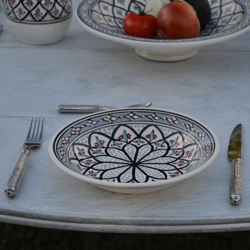 Lot de 6 assiettes creuses Bakir gris - D 24 cm