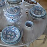 Lot de 6 assiettes plates Marocain turquoise - D 24 cm