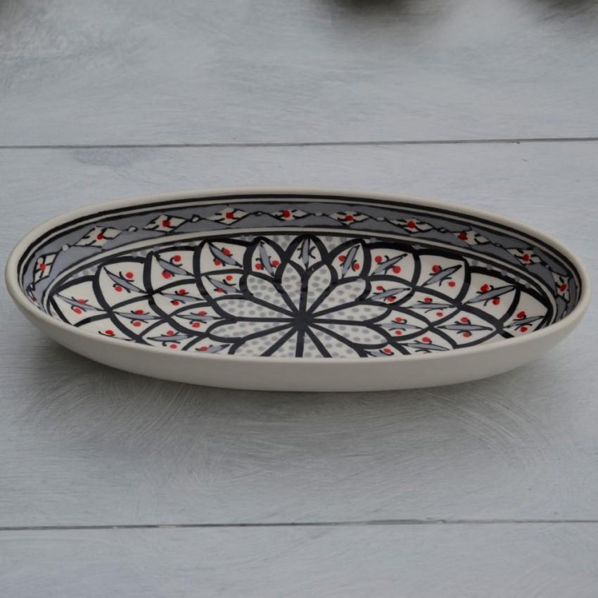 Plat ovale Bakir gris - L 30 cm