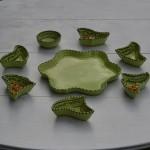 Service apéritif Fleur Tatoué Vert