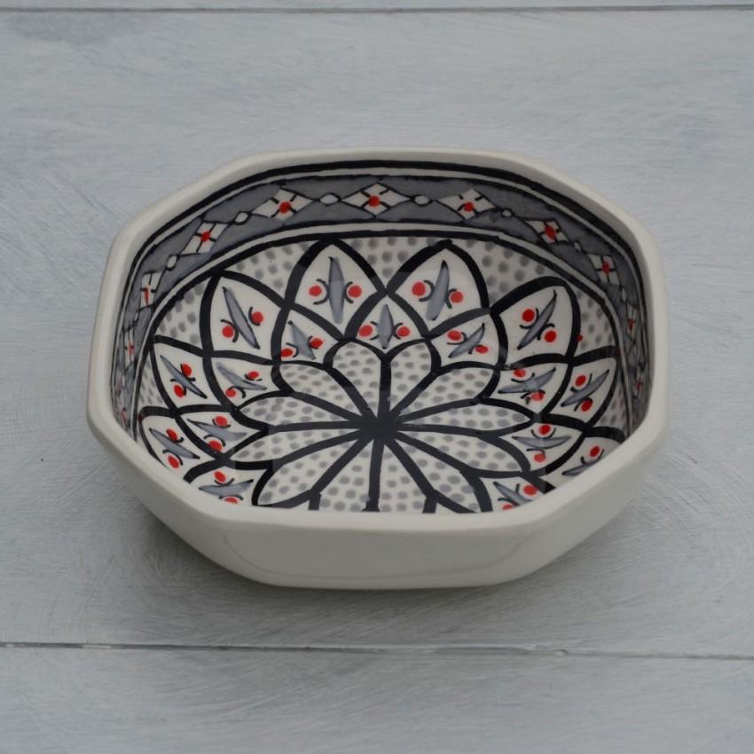 Plat octogonal Bakir gris - L 16 cm