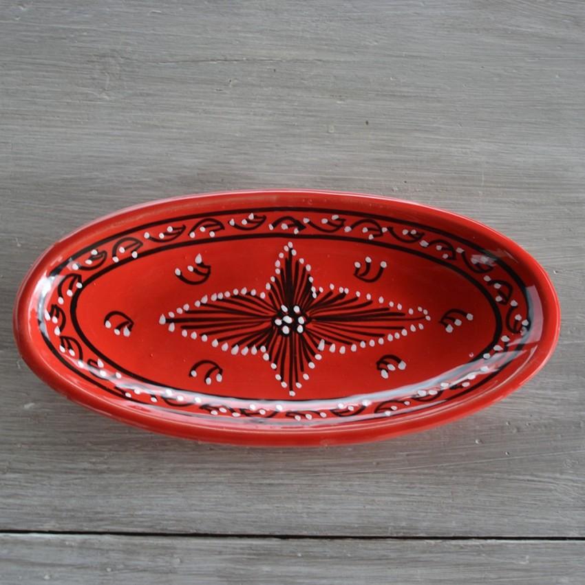 Plat ovale Tatoué rouge - L 30 cm
