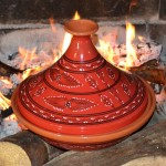 Tajine Tatoué rouge - D 31 cm traditionnel