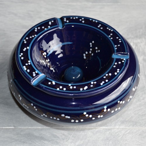 Cendrier marocain Tatoué bleu nuit - Très Grand modèle