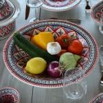 Service à couscous assiettes creuses Bakir rouge - 6 pers