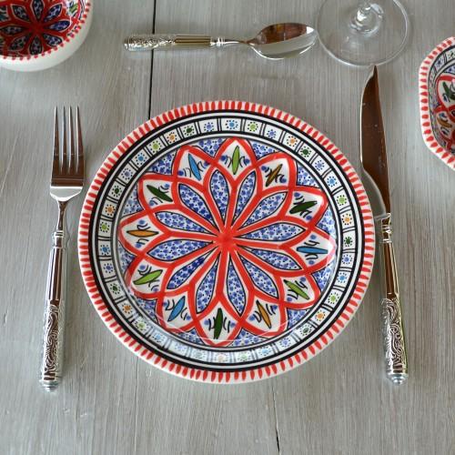 Assiette plate Jileni rouge / 3 tailles D 20 - 24 - 28 cm