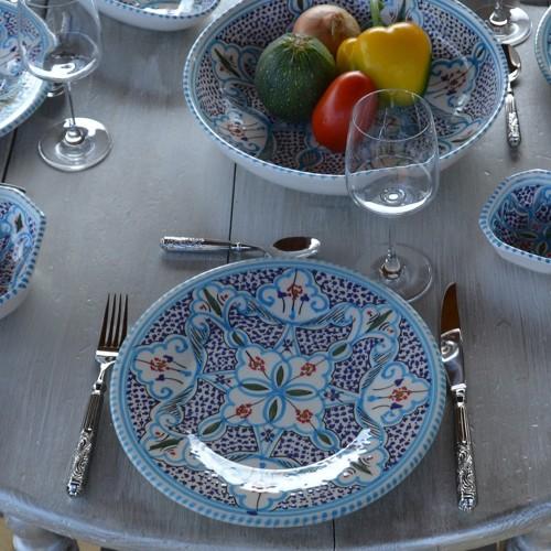 Assiette plate Marocain turquoise / 3 tailles D 20 - 24 - 28 cm