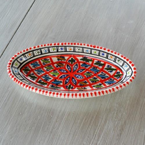 Plat ovale Jileni rouge - L 20 cm
