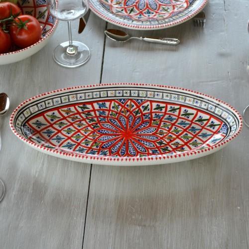 Plat ovale Jileni rouge - L 24 cm