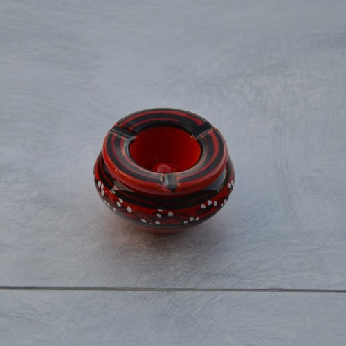 Cendrier marocain anti fumée Tatoué rouge - Mini modèle
