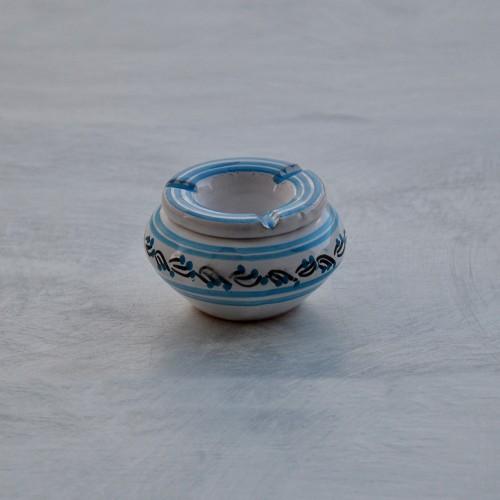 Cendrier anti fumée Tatoué turquoise et blanc - Mini modèle
