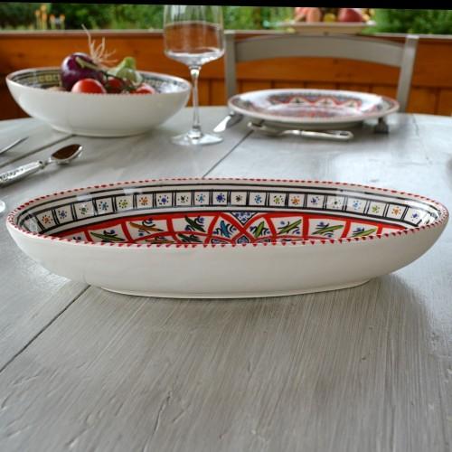 Plat ovale Jileni rouge - L 30 cm
