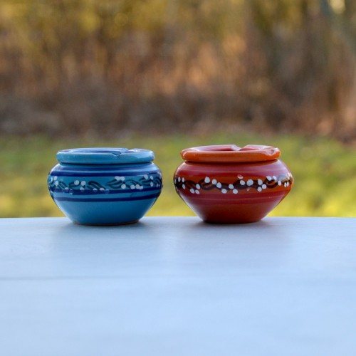 Lot 2 cendriers anti fumée bleu et orange - Mini modèle