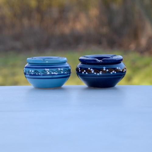 Lot 2 cendriers anti fumée bleu et turquoise - petit modèle