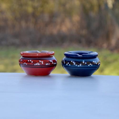 Lot 2 cendriers anti fumée bleu et rouge - Mini modèle