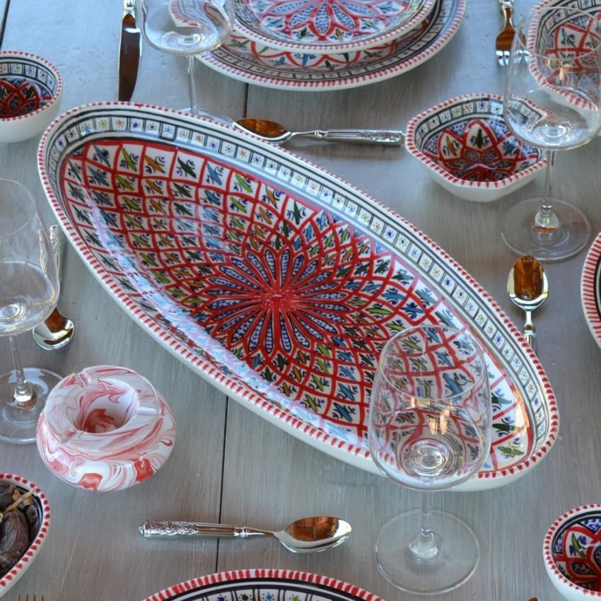 Plat ovale Bakir rouge - L 53 cm
