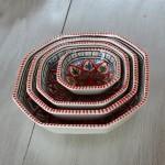 Plat octogonal Bakir rouge - L 16 cm