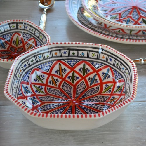 Plat octogonal Jileni rouge - L 25 cm