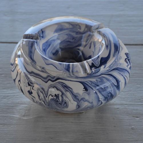 Cendrier anti fumée marbré bleu et blanc - Grand modèle