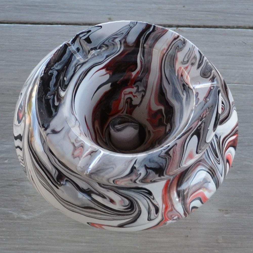 cendrier anti fum u00e9e marbr u00e9 rouge  noir et blanc