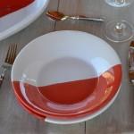 Lot de 6 assiette creuse Kerouan rouge et blanc - D 24 cm