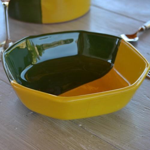Plat octogonal Kerouan jaune et vert - L 20 cm
