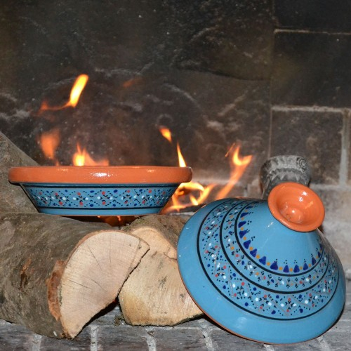 Lot de 4 tajines individuels Marrakech Bleu - D 23 cm traditionnel