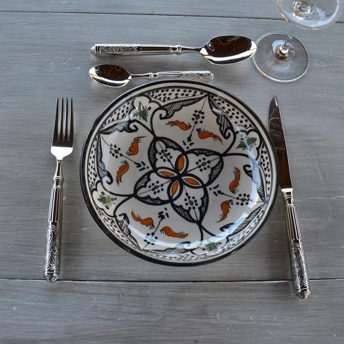 Lot de 6 assiettes jatte Marocain noir - D 20 cm
