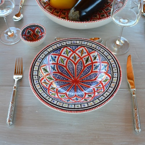 Assiette Tebsi Jileni rouge - Diam 23 cm