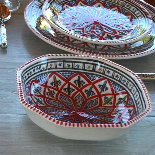 Plat octogonal Jileni rouge - L 16 cm
