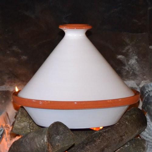 Tajine Spécial Feu Blanc- D 27 cm