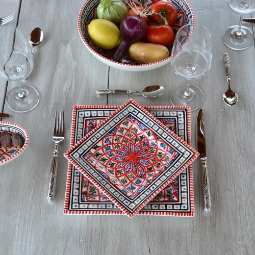 Assiette carrée Bakir rouge - L 19 cm