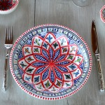 Assiette creuse Jileni rouge - Diam 24 cm