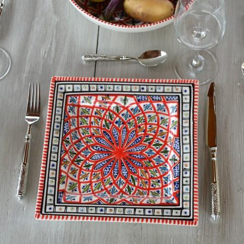 Assiette carrée Bakir rouge - L 24 cm
