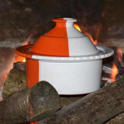Cocotte de cuisson Blanche et Orange - D 20 cm