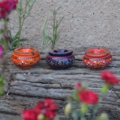 Lot 3 mini cendriers Marrakech orange,rouge et bleu nuit - Mini modèle
