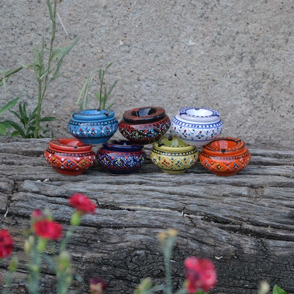 lot 3 mini cendriers marrakech bleu rouge et bleu nuit