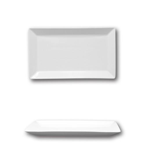 Assiette rectangulaire porcelaine blanche - L 26 cm - Kimi