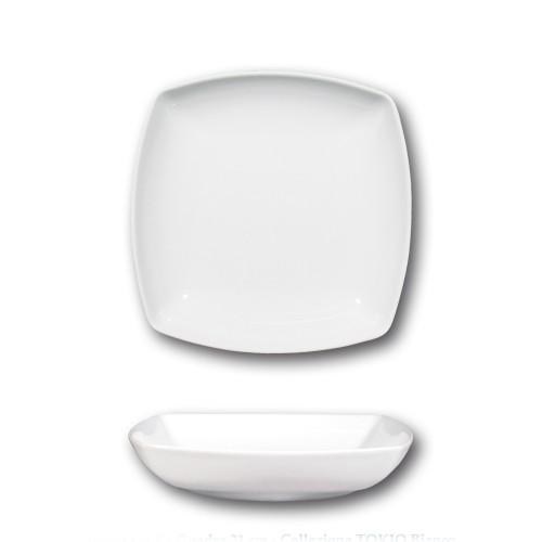 Assiette creuse porcelaine blanche - L 21 cm - Tokio