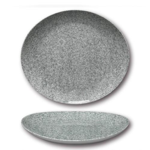 Assiette à steak porcelaine colorée - D 30,5 cm - Moucheté gris