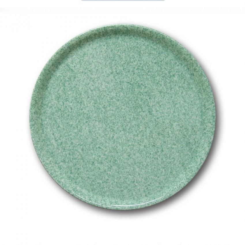 Assiette à pizza porcelaine colorée - D 31 cm - Moucheté vert
