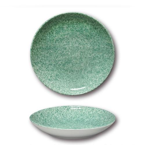 Assiette à couscous porcelaine colorée - D 26 cm - Moucheté vert