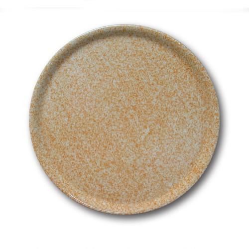 Assiette à pizza porcelaine colorée - D 31 cm - Moucheté beige