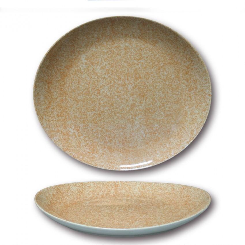 Assiette à steak porcelaine colorée - D 30,5 cm - Moucheté beige