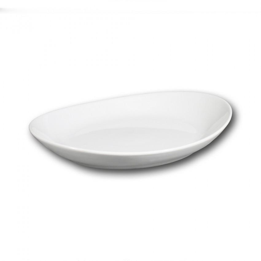 Lot de 6 assiettes gondoles porcelaine blanche - L 26 cm - Tivoli