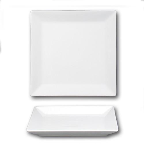 Assiette carrée porcelaine blanche - D 26 cm