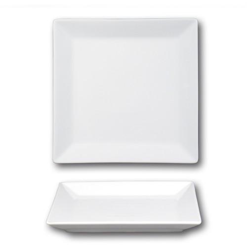 Assiette carrée porcelaine blanche - L 24 cm - Kimi