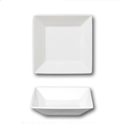 Assiette carrée creuse porcelaine blanche - L 20 cm - Kimi